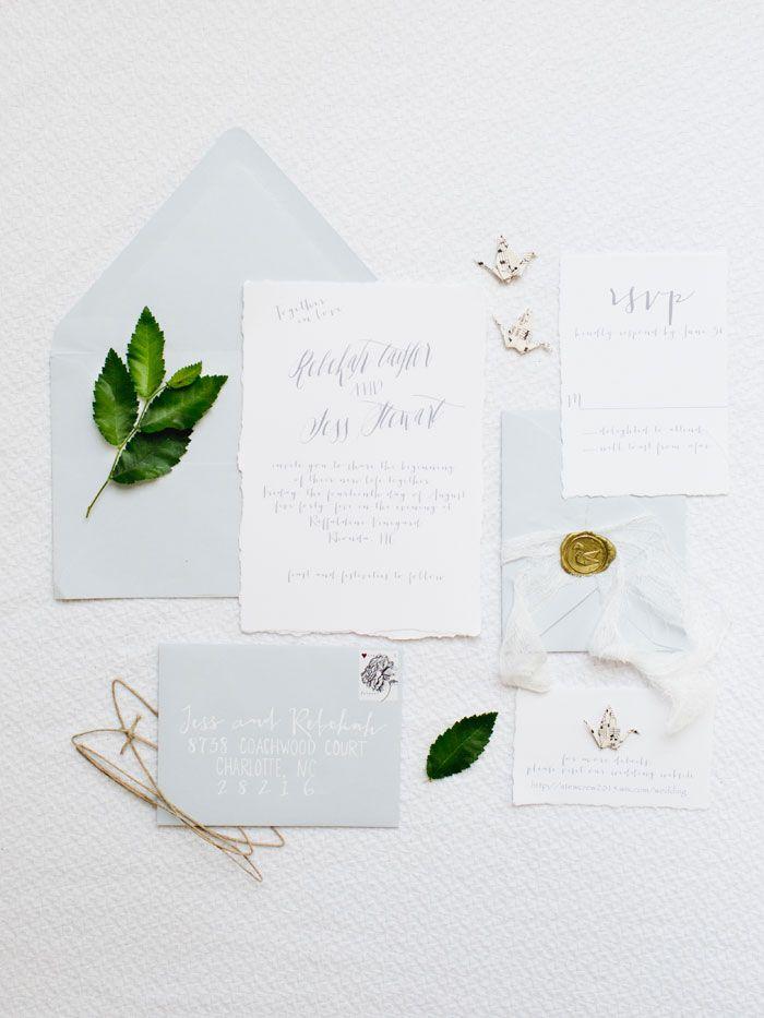 confetti daydreams wedding invitations%0A white and grayish blue stationery  Wedding Stationery