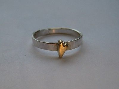 A very simple silver band with solid 18ct gold heart.  A 'Kim Styles Jewellery' design.     #solid gold #jewellery making #cooksongold