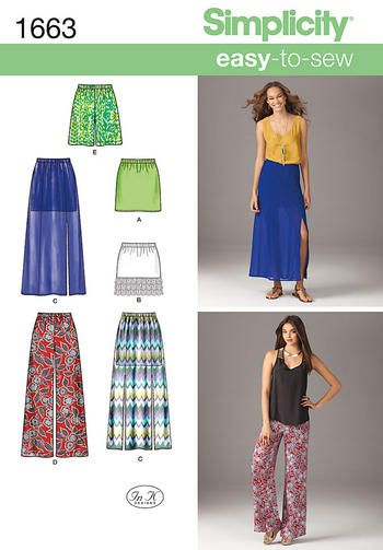 Simplicity Sewing Pattern 1663 - Misses' Easy to Sew Skirts & Pants - Choice of Sizes Preview