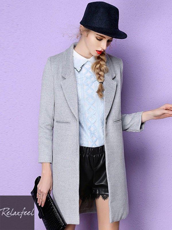 Relaxfeel Women's Pure Notch Collar Long Sleeve Woolen Coat - New In