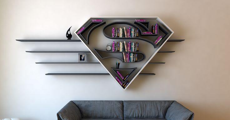 Artista cria prateleiras inspiradas em logotipos dos Super-Heróis. Impossível não querer uma.