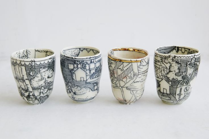 handmade porcelain juice cups. inlay illustration with luster. Molly Bernstein