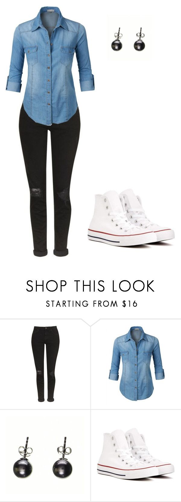 """""""Sans titre #977"""" by stalialightwood ❤ liked on Polyvore featuring Topshop, LE3NO, Black and Converse"""