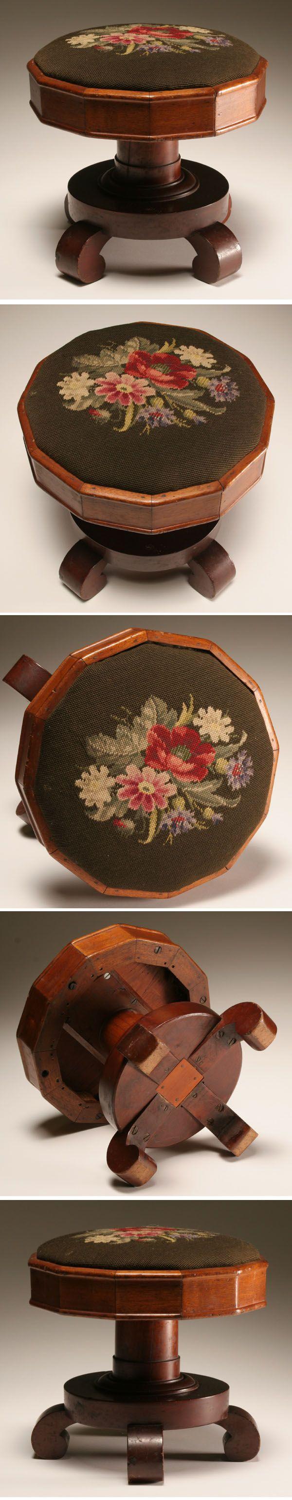 Victorian mahogany needlepoint foot stool; | Antique Helper