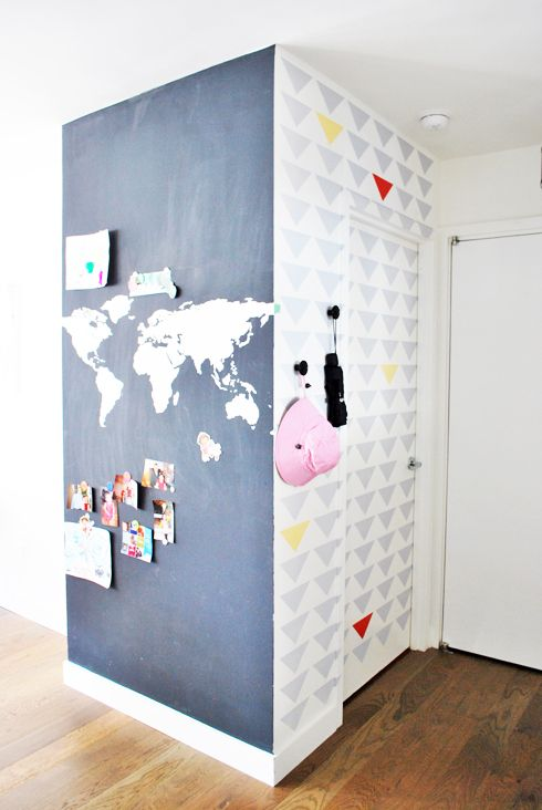 we used MAGNETIC PAINT on 1 wall and triangle confetti stencil on the other wall / modern foyer / entryway/ hallway
