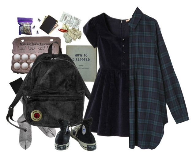 """""""how to disappear"""" by paper-freckles ❤ liked on Polyvore featuring Gerbe, Monki, INC International Concepts, Royce Leather, Etiquette and Converse"""