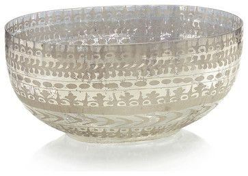 Etched Mercury Glass Bowl - Large transitional-bowls