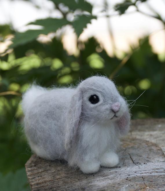 Needle Felted Lop Eared Baby Bunny Rabbit Grey Angora Luxury Etsy Baby Bunnies Needle Felting Angora Bunny