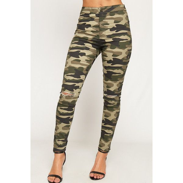 WearAll Camouflage Ripped Knee High Waisted Jeans ($30) ❤ liked on Polyvore featuring jeans, green, camo skinny jeans, skinny ankle jeans, destroyed skinny jeans, super stretch skinny jeans and camouflage skinny jeans