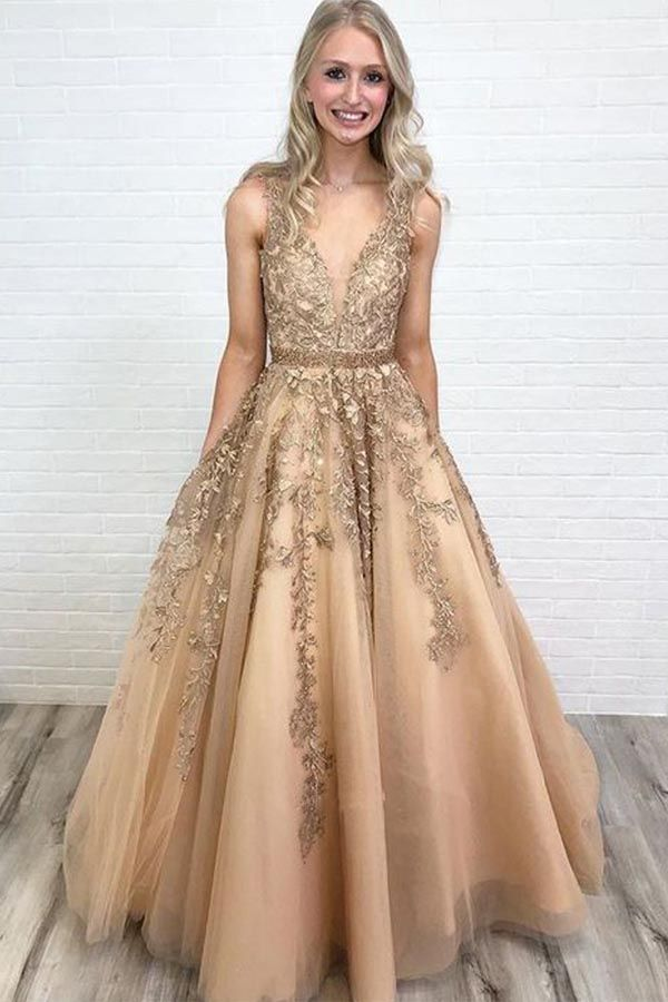 A-LINE V NECK OPEN BACK GOLD LACE LONG PROM DRESSES WITH BEADING PG849   promdresses  eveningdress  formaldress  longpromdress  beautifulprom 88a7105fe