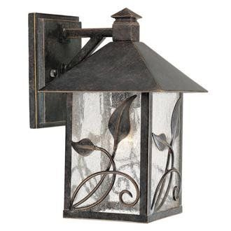 "French Garden Collection 10 1/2"" High Outdoor Wall Light by Unknown. $49.95. As part of the French Garden Collection, this outdoor wall light has stems and leaves gently scrolling upward. Features a warm French bronze finish and clear seedy glass. From Franklin Iron Works®."