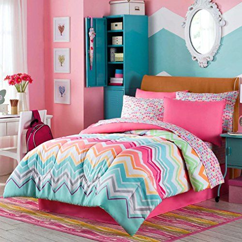 Happy Chevron Girls Full Comforter, Shams, Sheets, Bedskirt And Home Style Exclusive Sleep Mask