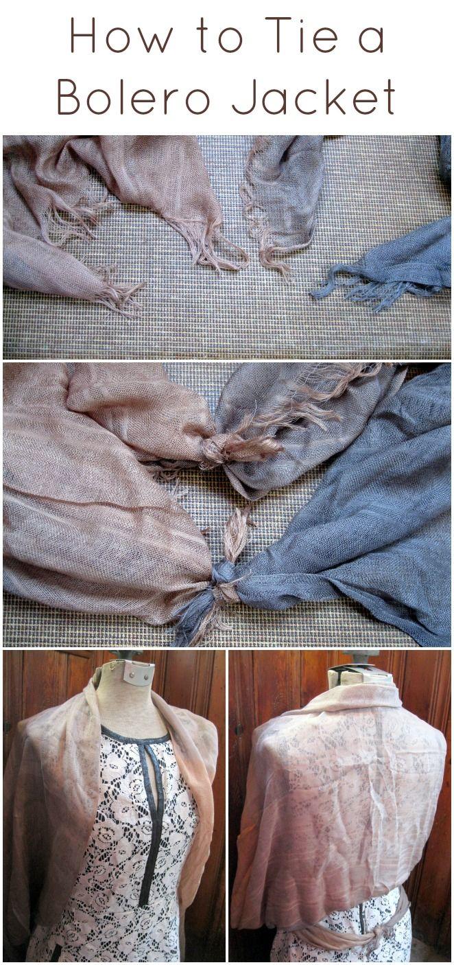 How to tie a scarf into a bolero jacket