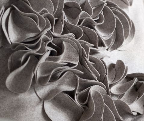 3D Textiles - fabric manipulation to create dimensional textures with felt; textile surface design