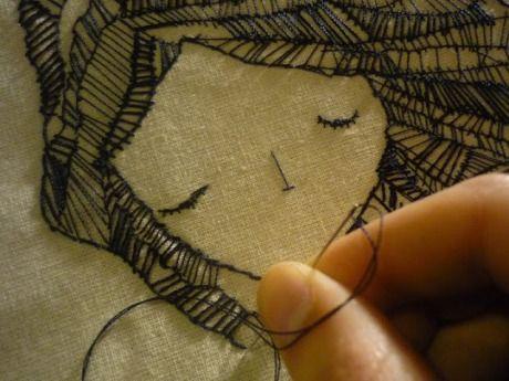 Blackwork on fabric - art journal inspiration needlework. Leila Montero. b embroidery. like a sketch