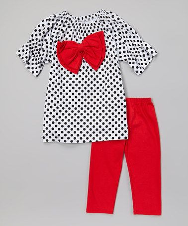 White Polka Dot Bow Top & Red Leggings - Toddler & Girls #zulily #zulilyfinds