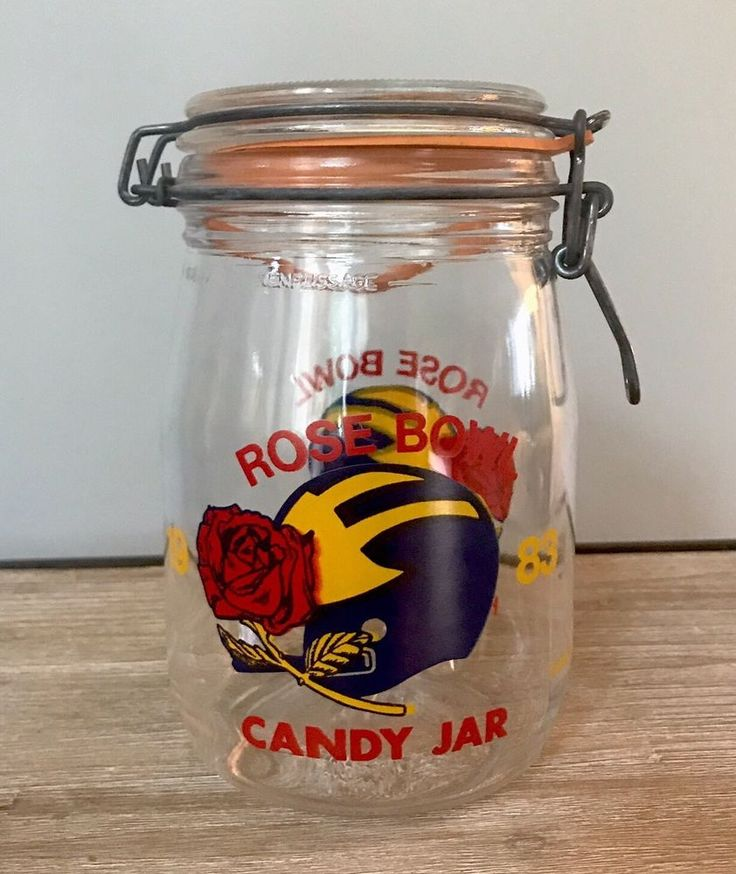 Michigan Wolverines 1983 Rose Bowl Game Big 10 Champions Glass Candy Jar RARE  | eBay #michigan #gomichigan #rosebowl #candyjar