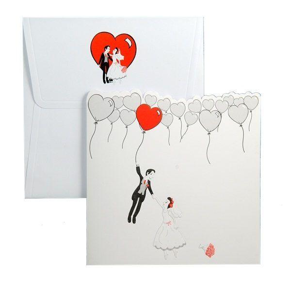 Invitatie de nunta haioasa, in nuante de alb, negru si rosu, cu miri, inimioare, baloane si flori.