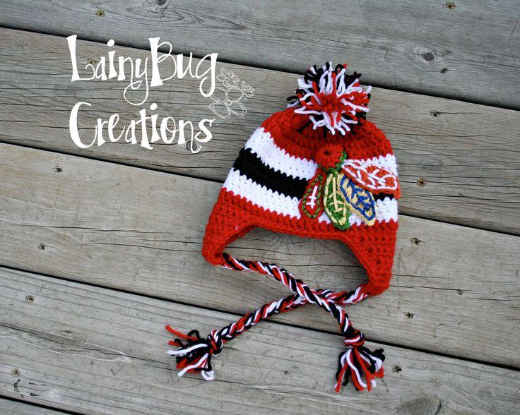 Blackhawks Inspired crochet earflap hat