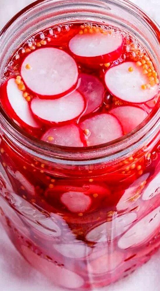 Easy Pickled Radishes.                                                                                                                                                                                 More