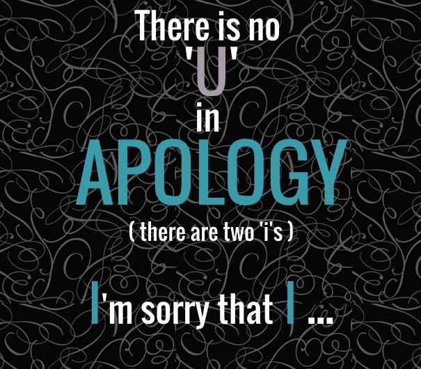There is no 'U' in apology( there are two 'i's )