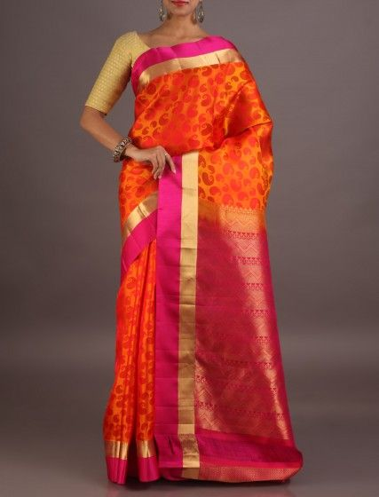 Adhya Fiery Orange Burst Of Paisleys Ornate Pallu Smart Coimbatore Silk Saree