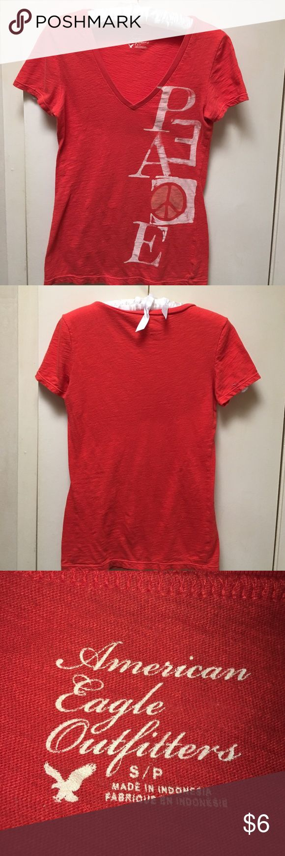 American Eagle Outfitters, Peace and Love tshirt. V neck shirt sleeve and great color. We all need a little more Peace/Love! American Eagle Outfitters Tops Tees - Short Sleeve