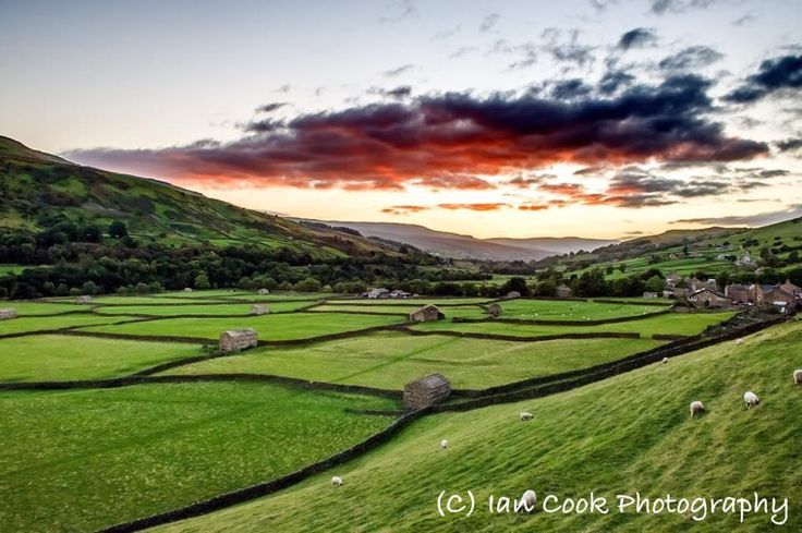 Sunset, Swaledale Barns at Gunnerside, North Yorkshire UK