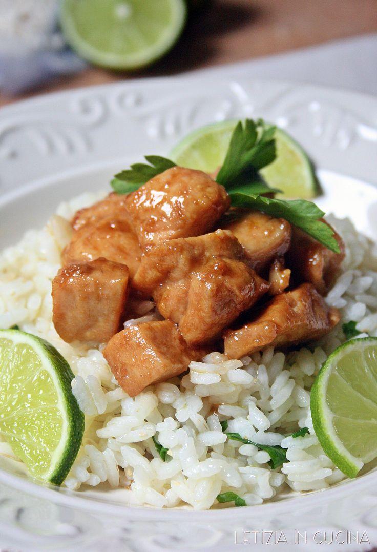 Pollo agrodolce al lime con riso al prezzemolo
