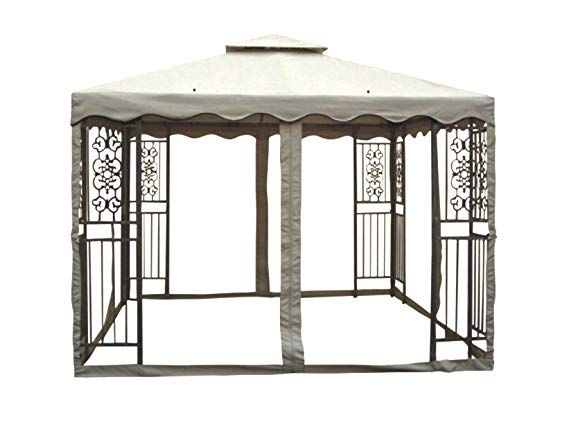 Amazon Com Piersurplus 10 Ft X 10 Ft Outdoor Double Roof Steel Gazebo With Beige Canopy And Mosquito Netting Product Sku Gazebo Steel Gazebo Steel Roofing