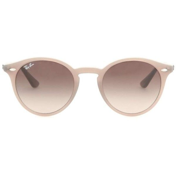 Ray-Ban RB2180 Round Sunglasses ($164) ❤ liked on Polyvore featuring accessories, eyewear, sunglasses, glasses, óculos, brown, ray ban sunnies, brown sunglasses, round frame glasses and brown round sunglasses