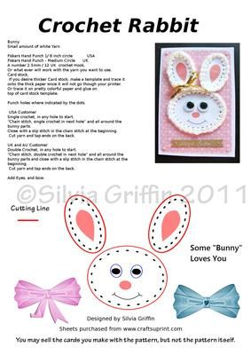 Bunny Crochet Card Pattern on Craftsuprint - View Now!