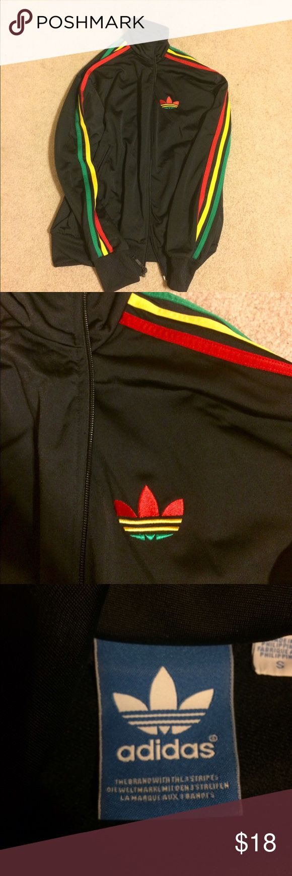 Adidas Rasta style zip up jacket Super cool jacket in great condition. Size small but fits like a medium/large Adidas Tops Sweatshirts & Hoodies