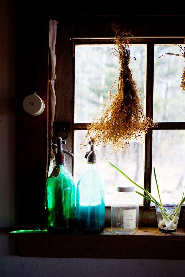 blue glass green glass