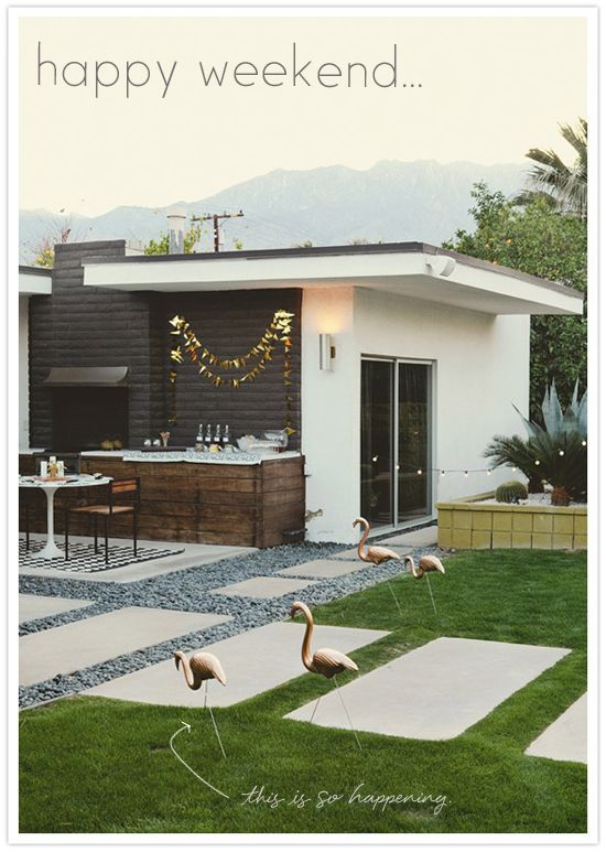 so so so pretty.....dream home.: Backyard Design, Pink Flamingos, Gold Flamingos, Mid Century, Palms Spring, House, Outdoor Spaces, Outdoor Bar, Midcentury