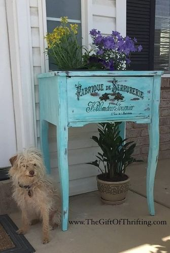 s 15 whimsical ways to use old furniture in your flower bed, gardening, painted furniture, repurposing upcycling, Insert a planter inside an old sewing cabinet