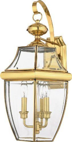 Quoizel NY8318B Newbury 3-Light Outdoor Wall Fixture, Polished Brass by Quoizel. $183.07. From the Manufacturer                When it comes to curb appeal, outdoor lighting plays a large part in creating a special ambiance. The classic design and beveled glass of the Newbury gives the outside of your home a rich elegance, without making it look over-embellished. It's a versatile look that coordinates with most any architectural style.                                    Prod...