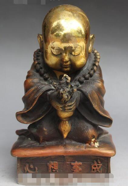 Templo chino de Bronce Dorado Pequeño Monje Bendición Pray Pequeños Monjes Estatua de Buda en Estatuas y Esculturas de Hogar y Jardín en AliExpress.com | Alibaba Group