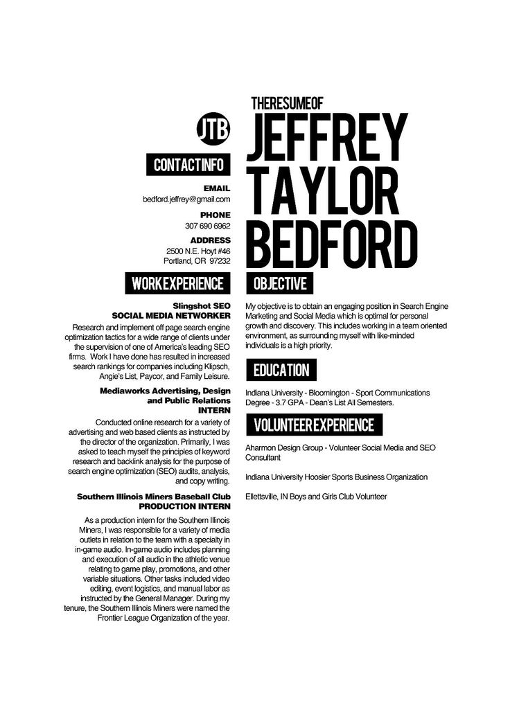 Simple (yet Extremely Well Constructed Typography) Can Be Really Effective  Layout For A Resume