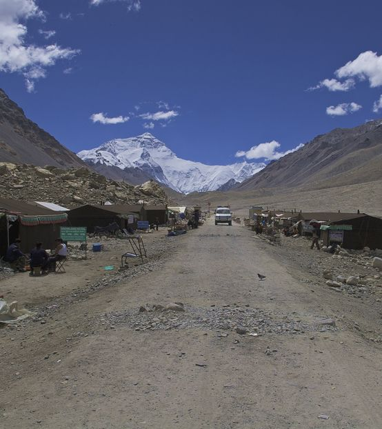 The tent guest houses line the road to the base camp on the north side of Mt Everest. The base camp itself is farther along the road.