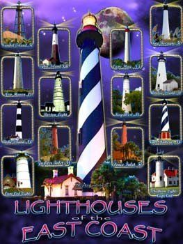 Lighthouses Metal Sign: Coastal Home Decor Wall Accent By OMSC. $15.49.  Ships In