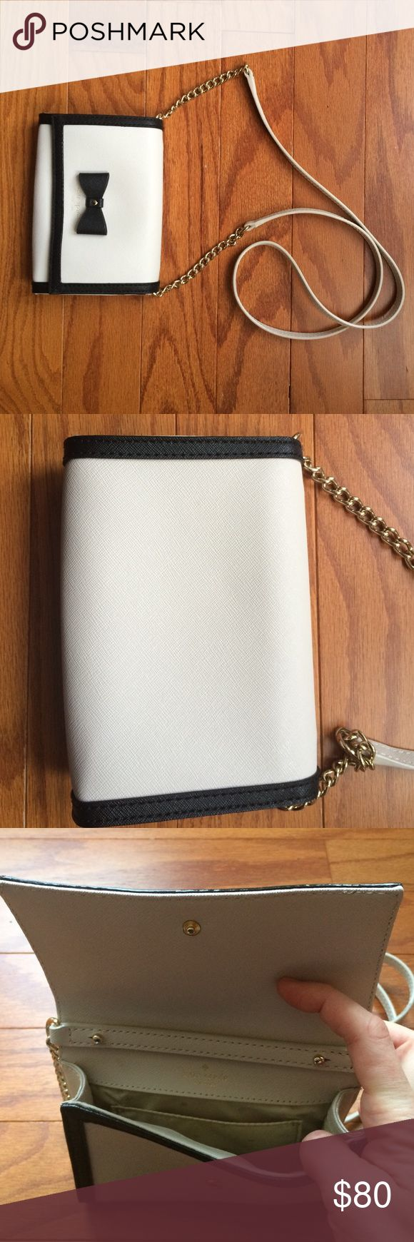 "Kate Spade Hazel Court Cami Crossbody/Clutch Combo Cross-hatched leather, 4.5""h / 6.2"" w / 1"" d. Strap is removable to convert to a clutch, making this a great day-to-night bag. It's the perfect size for a few small extras beyond phone and cards. Gently used. The only flaw is some light wear on the strap (see picture 4), not noticeable when worn. Smoke-free home. No trades. kate spade Bags Crossbody Bags"