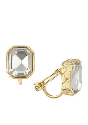 Laundry By Shelli Segal Women Gold-Tone Emerald Cut Stud Clip Earrings - Crystal Gold - One Size