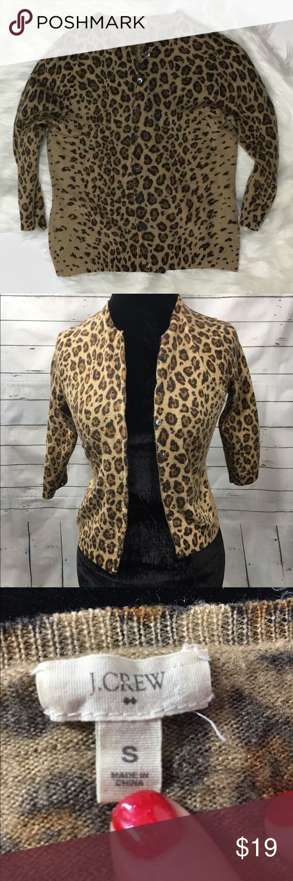 """J.Crew leopard print 3/4 sleeve cardigan 💯%wool Women's J.Crew Leopard Animal print 100% wool button down cardigan with 3/4 sleeves. some pilling on sides. Size small  Armpit to Armpit-15"""" Overall Length-18"""" J. Crew Sweaters Cardigans"""