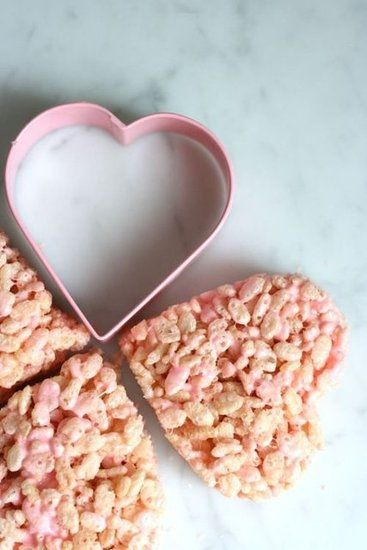 Something for the kids, rice krispies treats get so much cuter with the addition of pink food coloring and a heart cookie cutter