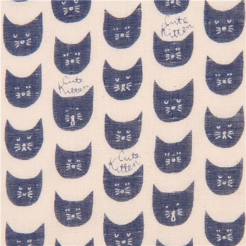 cream double gauze dark blue cat animal face Kokka fabric 2