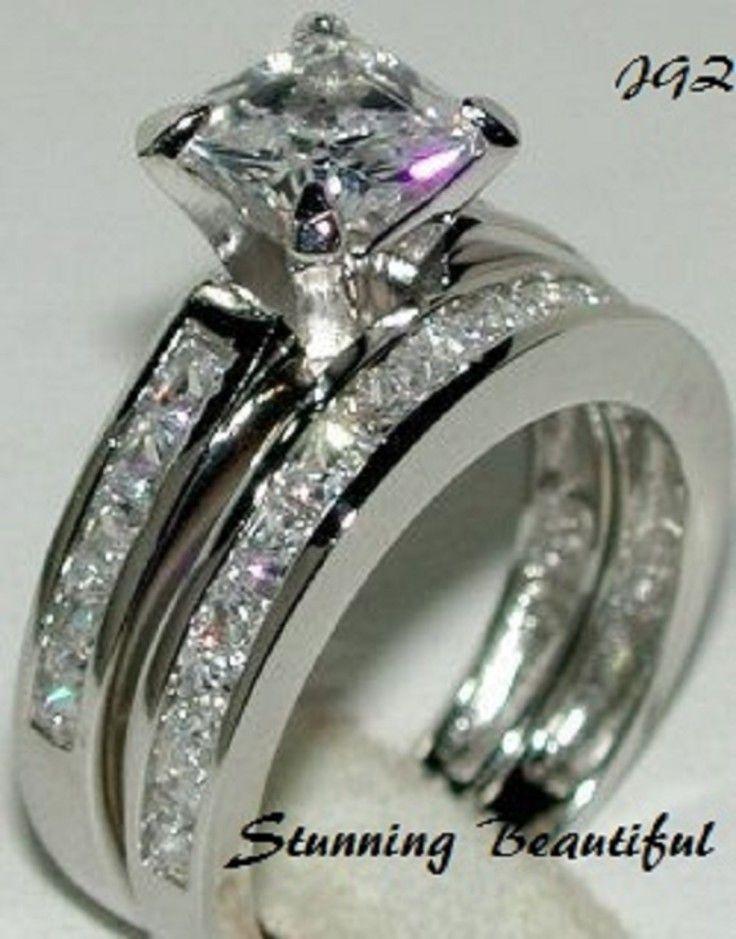 Classic Beauty *  2.0ct Princess cut Bridal set. Sz 7 * Exclusive New  Jewelry *