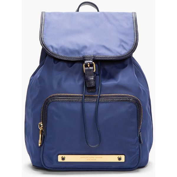 MARC BY MARC JACOBS Blue Work It Baby Got Backpack ($165) ❤ liked on Polyvore featuring bags, backpacks, backpack, fake leather backpack, animal backpacks, genuine leather backpack, real leather backpack and leather drawstring backpack