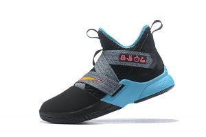0047832f7cd Mens Nike LeBron Soldier 12 South Beach Black Grey Pink Blue Basketball  Shoes
