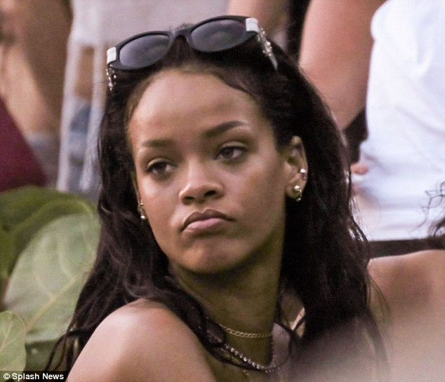 Natural beauty: Rihanna showed her flawless complexion with her sunglasses atop her head